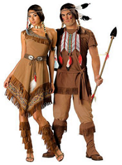 Elite Native American Maiden and Elite Native American Brave Couples Costumes