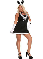 Plus Size Black Tie Bunny Costume Adult