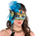 Turquoise and Black Feather Mask with Handle Adult
