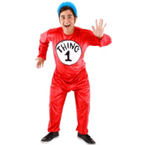 The Cat in the Hat Thing 1 and Thing 2 Jumpsuit Costume Adult